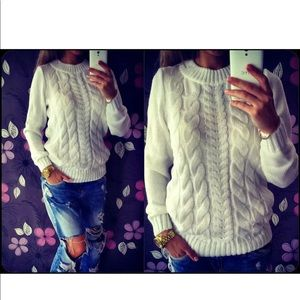 White cable knit sweater classy new s/m/l/xl
